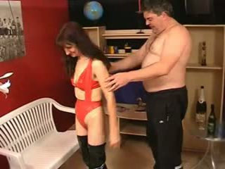 Mature hairy ugly Sue in latex and Joh...