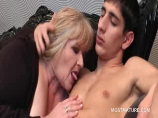 Lusty mature kissing babe guy with passion