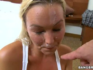 Abbey Brooks Love The Spunk Fountain Flowing On Face