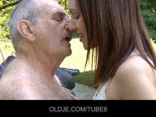 Young russian girl rides really old man