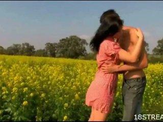 Perverted teen couple banging hardcore outdoors