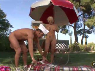 Flexible Brandy takes off panties for ...