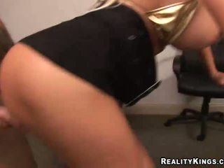 Amazing big tits belle riding a stiff pecker
