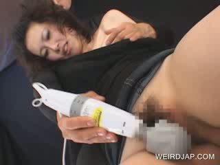 Hot oriental gets hairy Pussy pleased