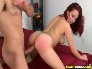 Frolicsome redhaired latina belle dia onto die ram rod