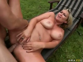 Amazing big tits Abbey Brooks ass drilled outdoors
