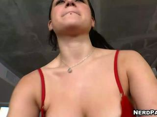 Teen Beauty in Sexy Bra and Panties Gives Handjobs