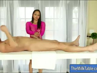Busty masseuse Adrianna Luna blowjobs under the table