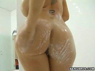 seks tegar, tetek besar, mandi