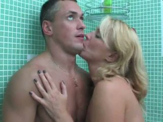 Mom gets horny in bathroom Video