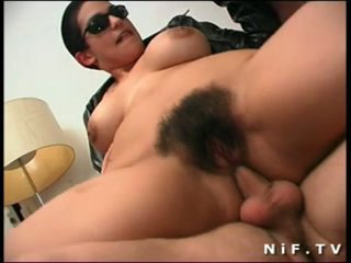 Hairy french slut gets double anal pen...