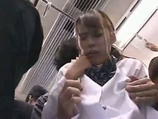Shy Schoolgirl groped on train