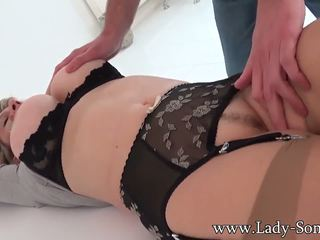 Lady Sonia the Uk MILF Bound to Table and Used till.