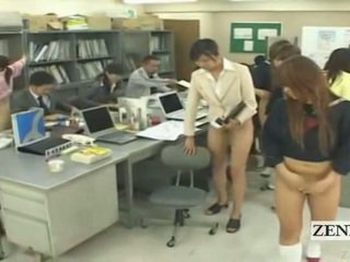 Subtitled half naked bottomless ýapon school ofis