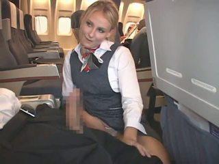 cumshot, interracial, stewardess
