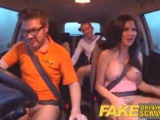 Fake driving scuola esame failure ends in trio double creampie