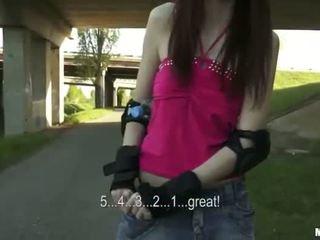 Gorgeous skating chick enjoys public sex