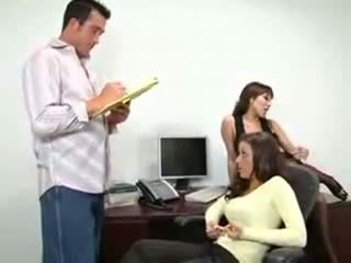 Hot threesome sex in the office