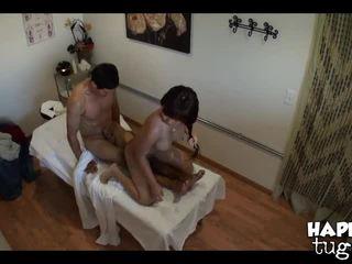 brunette, dầu, massage phòng