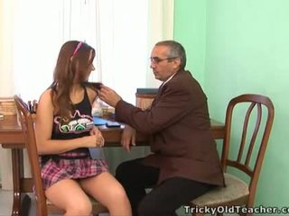 Horny old teacher gives juvenile honey a drilling