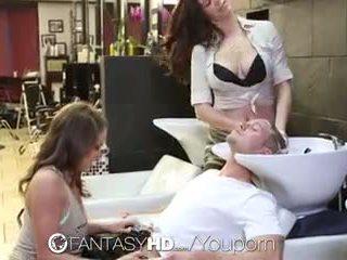 Fantasyhd - בחורות lily ו - holly יש לי שלישיה ב beauty salon
