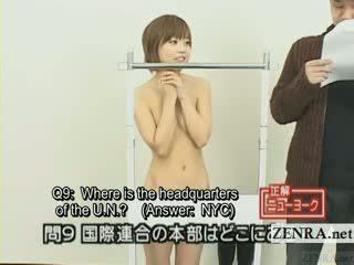 Subtitled Japanese quiz show with nudist Japan student