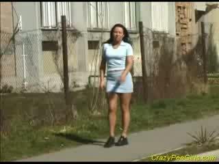 Mad bitch urinates in public