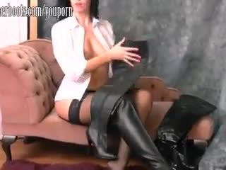 big boobs, leather, babe