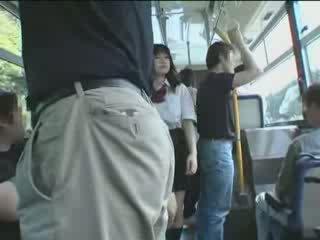 اليابانية, طالبة, حافلة